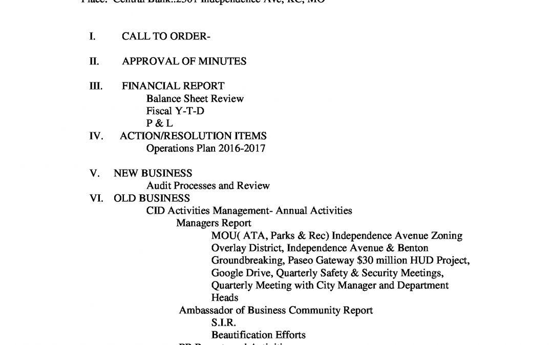 May 2016 CID Board Agenda