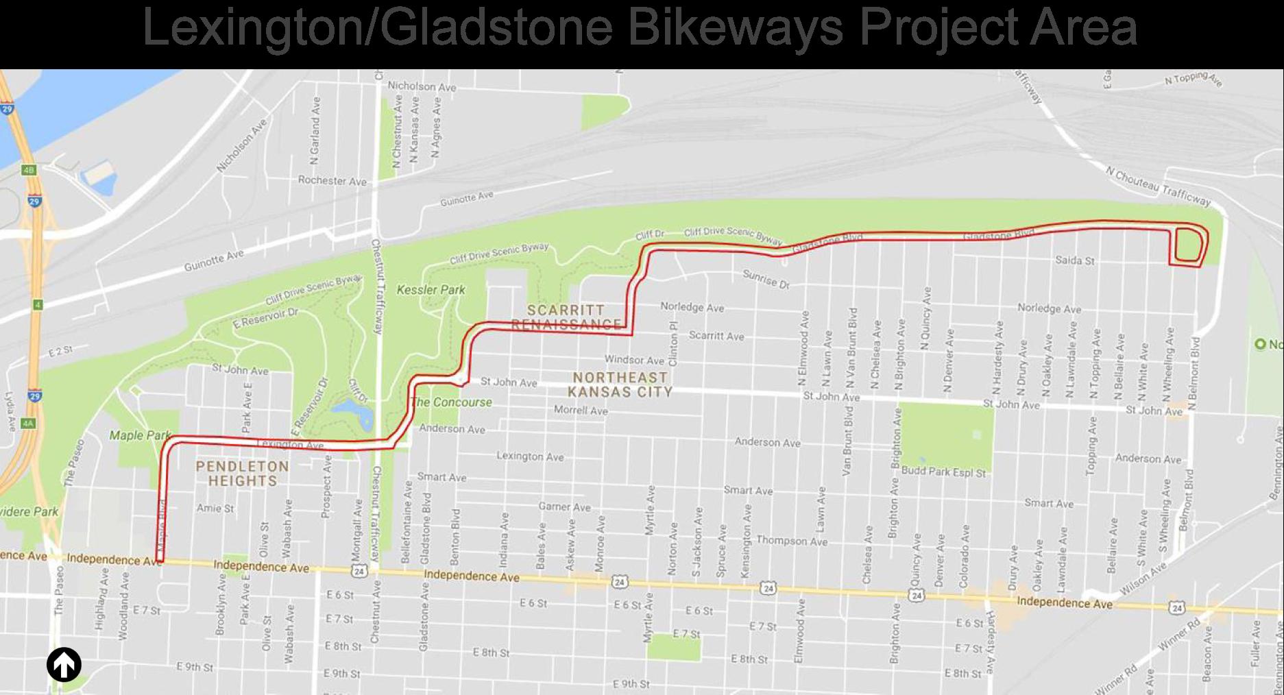 Lexington / Gladstone Bike-ways Project Area